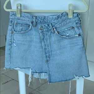 Frayed edge mini skirt